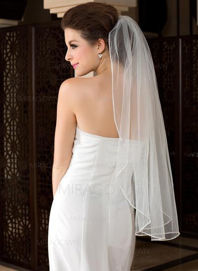 Voile de mariée longueur bout des doigts Tulle 1 couche Coupe ange/Cascade avec Bord perlé Voiles de mariage (006036616)