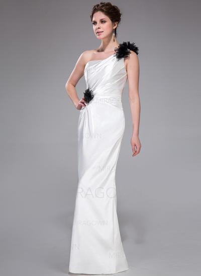 Forme Fourreau Charmeuse Robes demoiselle d'honneur Plissé Fleur(s) Seule-épaule Sans manches Longueur ras du sol (007026194)