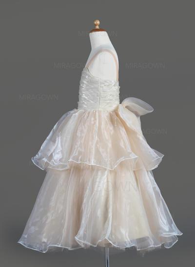 Flatteur Encolure carrée Forme Princesse Robes de demoiselle d'honneur - fillette Longueur mollet Organza Sans manches (010014606)