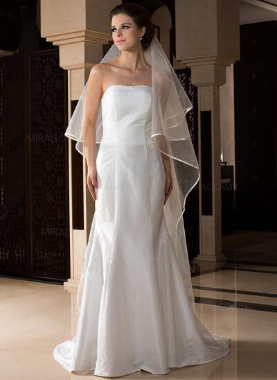 Voiles de mariée chappelle Tulle 1 couche Voile goutte avec Bord en ruban Voiles de mariage (006036786)
