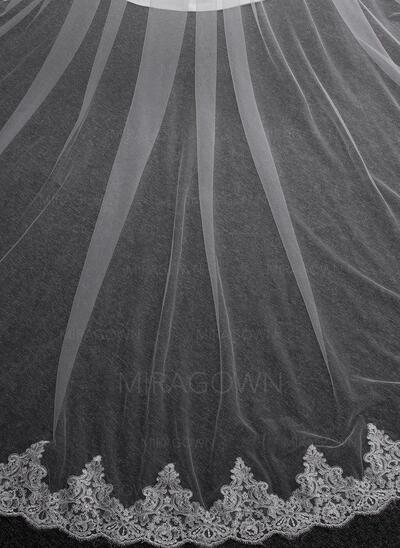 2 couches Bord en dentelle Voiles de mariée cathédrale avec Dentelle (006150910)