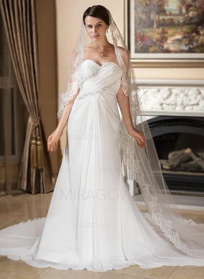 Forme Princesse Mousseline de soie Sans manches Chérie Traîne watteau Sans bretelle Robes de mariée (002196849)