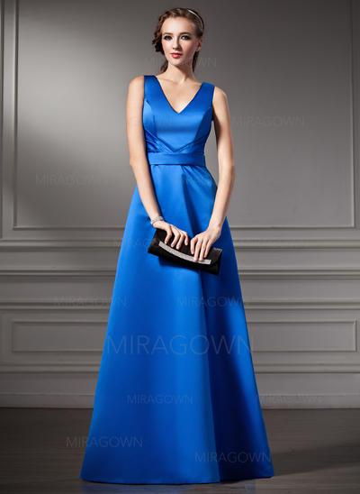Forme Princesse Satiné Robes demoiselle d'honneur Plissé Col V Sans manches Longueur ras du sol (007001783)