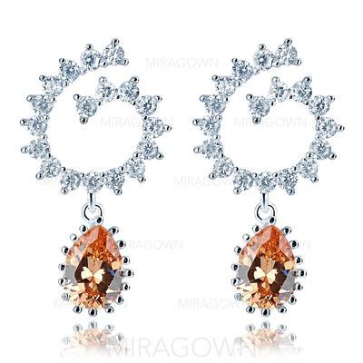 Boucles d'oreilles Zircon de/Platine plaqué Percées Dames Attrayant Mariage & Bijoux de Soirée (011075137)