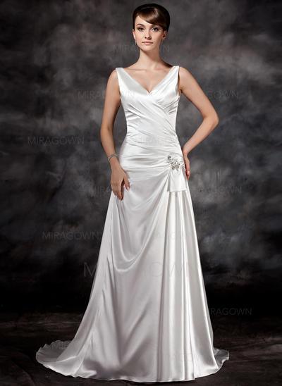 Forme Princesse Charmeuse Sans manches Chérie Traîne moyenne Bretelles classiques Robes de mariée (002196841)