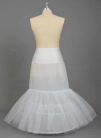 Ainsi que des jupons de taille Longueur ras du sol Nylon/Tissu tulle Combinaison pour robe sirène ou trompette 2 couches Jupons (037067027)