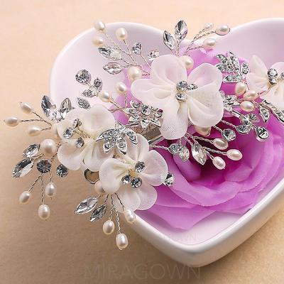 Beau Strass/Alliage/Soie artificielle Fleurs et plumes avec Perle Vénitienne (042075711)