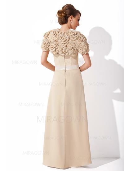 Forme Princesse Mousseline Sans manches Sans bretelle Longueur ras du sol Fermeture éclair Robes mère de la mariée (008006173)