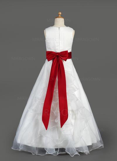 Moderne Col rond Forme Princesse Robes de demoiselle d'honneur - fillette Longueur ras du sol Organza/Satiné Sans manches (010014643)