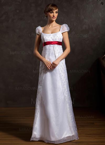 Mode Encolure dégagée Forme Princesse Robes de mariée Longueur ras du sol Organza Sans manches (002196891)