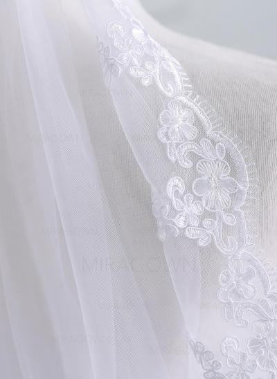 1 couche Bord en dentelle Voile de mariée longueur coude avec Dentelle (006141341)