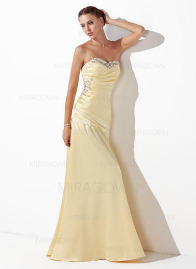 Le plus récent Amoureux Sans manches Robes de bal Longueur ras du sol Charmeuse Forme Princesse (018004827)
