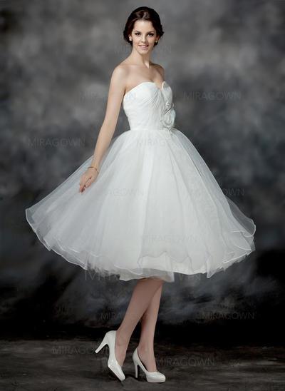 Forme Princesse Organza Sans manches Chérie Longueur genou Sans bretelle Robes de mariée (002196900)