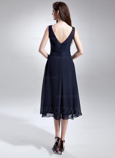 Forme Princesse Mousseline Robes demoiselle d'honneur Plissé Col rond Sans manches Longueur genou (007197658)
