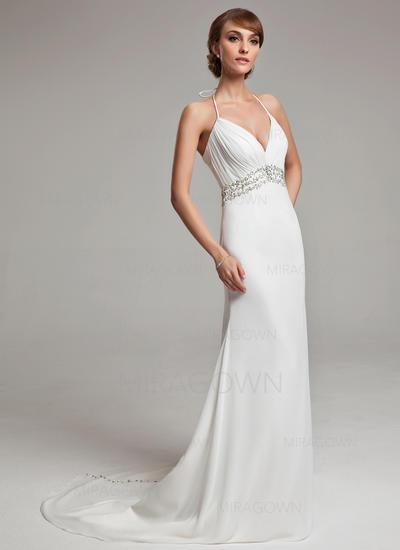 Forme Princesse Mousseline de soie Sans manches Dos nu Traîne moyenne Robes de mariée (002001676)