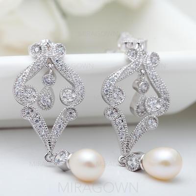 Boucles d'oreilles Cuivre/Zircon de/Platine plaqué De faux pearl Percées Dames Mariage & Bijoux de Soirée (011091468)