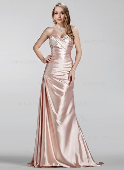 Forme Princesse Charmeuse Robes de soirée Plissé Brodé Amoureux Sans manches Balayage/Pinceau train (017020330)