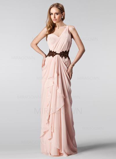 Forme Princesse Longueur ras du sol Robes de bal Seule-épaule Mousseline Sans manches (018004909)