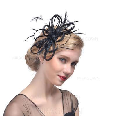 Batiste avec Feather Chapeaux de type fascinator Beau Dames Chapeau (196119289)