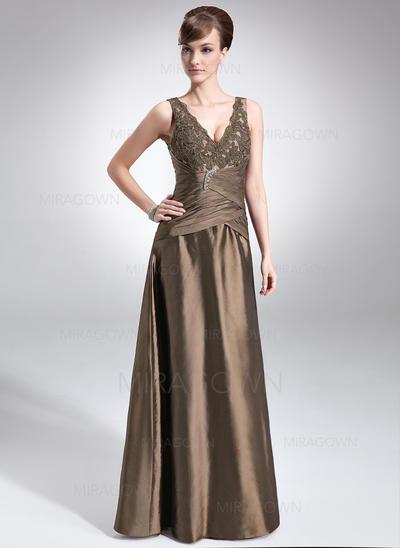 Forme Princesse Taffeta Sans manches Col V Longueur ras du sol Fermeture éclair Robes mère de la mariée (008005615)