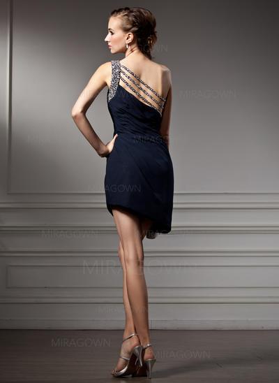 Linjeform En skuldret Asymmetrisk Chiffong Cocktailkjoler med Frynse Profilering (016021178)