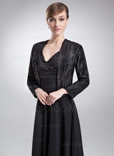 A-formet/Prinsesse Chiffong Charmeuse Uten Ermer V-hals Gulvlengde Glidlås Kjoler til Brudens Mor (008006052)