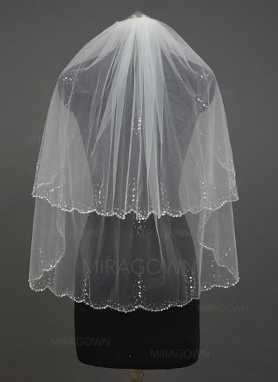 Voile de mariée longueur bout des doigts Tulle 2 couches Style Classique avec Bord festonné Voiles de mariage (006034427)