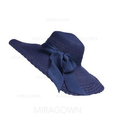 Raphia paille avec Bowknot Disquettes Chapeau/Chapeaux de plage / soleil Beau Dames Chapeau (196123873)