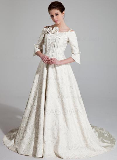 Forme Princesse Satiné Épaules découvertes Traîne mi-longue Bretelles classiques Robes de mariée (002196903)