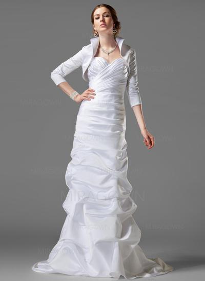 Forme Fourreau Satiné Sans manches Chérie Traîne moyenne Sans bretelle Robes de mariée (002001182)