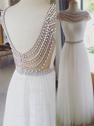 Forme Princesse Tulle Robes de bal Brodé Col rond Sans manches Longueur ras du sol (018148482)