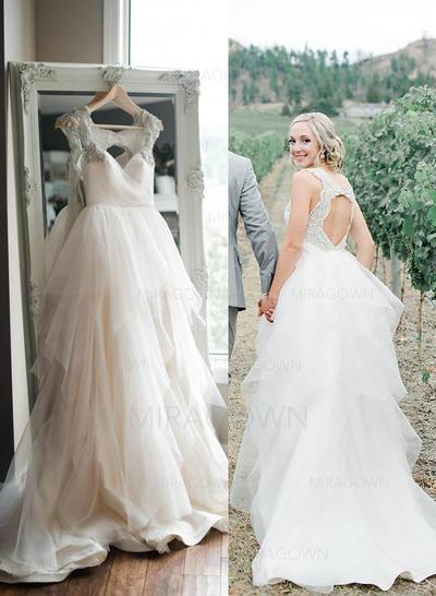 Forme Princesse Tulle Sans manches Chérie alayage/Pinceau train Bretelles classiques Robes de mariée (002147992)