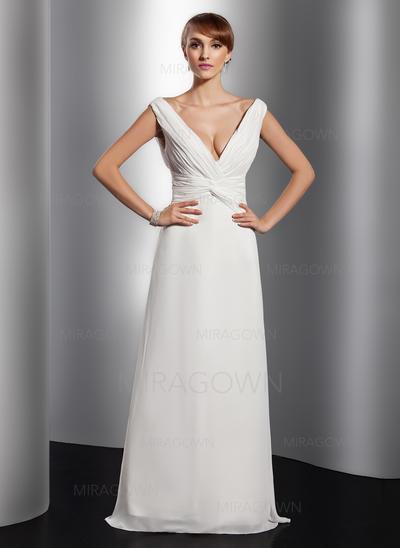 Forme Princesse Mousseline Robes de soirée Plissé Col V Sans manches Longueur ras du sol (017014811)