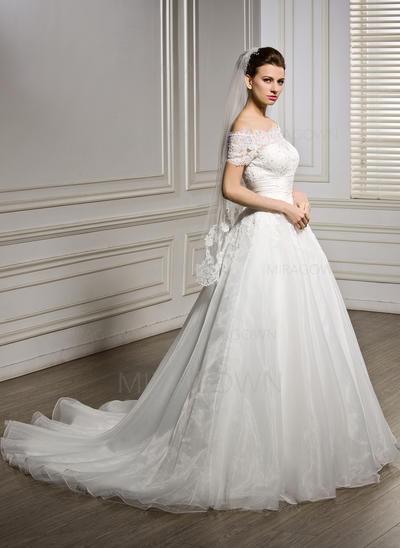 Voile de mariée longueur bout des doigts Tulle 1 couche Style Classique avec Bord en dentelle Voiles de mariage (006066862)