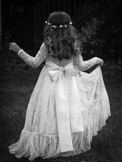 Col rond Manches longues Robes de demoiselle d'honneur - fillette Dentelle Ceintures/Plissée Manches longues Longueur ras du sol Robe Empire (010145254)