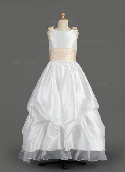 Sexy Col rond Forme Princesse Robes de demoiselle d'honneur - fillette Longueur ras du sol Taffeta/Organza Sans manches (010014607)