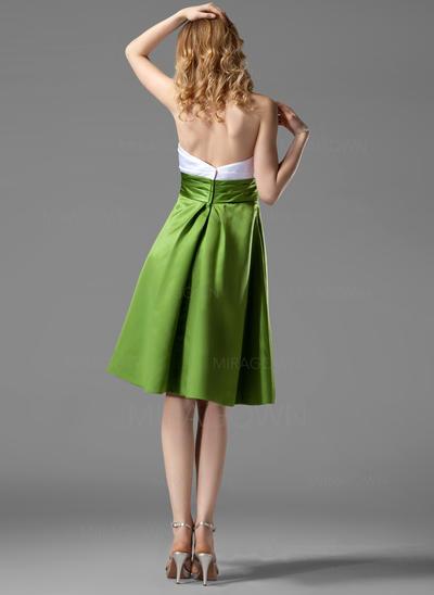 Robe Empire Satiné Robes demoiselle d'honneur Plissé Sans bretelle Sans manches Longueur genou (007004122)