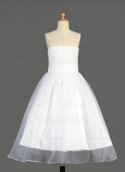Glamour Col rond Forme Princesse Robes de demoiselle d'honneur - fillette Longueur cheville Organza Sans manches (010014640)
