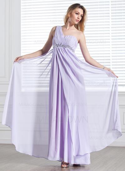 Robe Empire Mousseline Robes de soirée Plissé Brodé Seule-épaule Sans manches Longueur ras du sol (017002555)