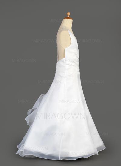 Flatteur Col rond Forme Princesse Robes de demoiselle d'honneur - fillette Longueur ras du sol Organza/Satiné Sans manches (010014647)