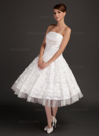 Renversant Sans bretelles Forme Princesse Robes de mariée Longueur mollet Taffeta Sans manches (002196894)
