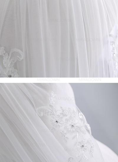 1 couche Bord en dentelle Voile de mariée longueur coude avec Strass/Dentelle (006141344)