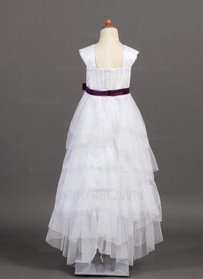 Nouveauté 2018 Encolure carrée Forme Princesse Robes de demoiselle d'honneur - fillette Longueur ras du sol Tulle/Charmeuse Sans manches (010005782)
