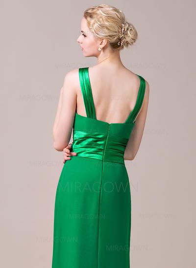 Forme Fourreau Mousseline Robes demoiselle d'honneur Plissé Col rond Sans manches Longueur ras du sol (007198750)