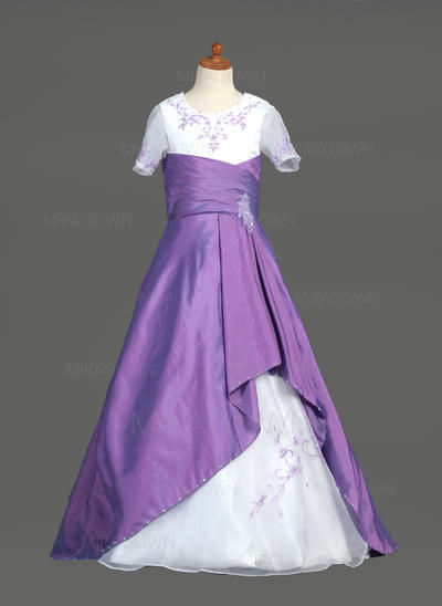 Moderne Col rond Forme Princesse Robes de demoiselle d'honneur - fillette alayage/Pinceau train Taffeta/Organza Manches courtes (010005777)