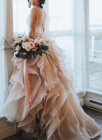 Forme Princesse Organza Sans manches Chérie alayage/Pinceau train Bretelles spaghetti Robes de mariée (002146921)