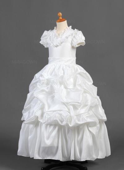 Chic Col V Forme Princesse Robes de demoiselle d'honneur - fillette Longueur ras du sol Taffeta Manches courtes (010015770)