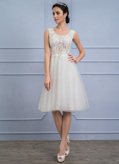 e0b0c1bb A-formet/Prinsesse Scoop Hals Knelengde Tyll Blonder Brudekjole (002107842)  ...