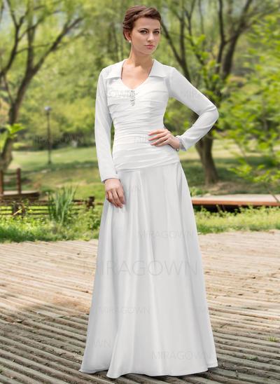 Mode Encolure dégagée Forme Princesse Robes de mariée Longueur ras du sol Mousseline de soie Charmeuse Longues manches (002196868)