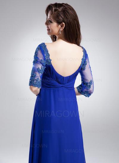 A-formet/Prinsesse Chiffong Halvlang V-hals Gulvlengde Glidlås på siden Kjoler til Brudens Mor (008006046)